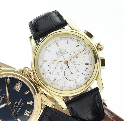 Zenith. A fine 18ct gold limited edition chronograph wristwatch with date, made for the 700th anniversary of Switzerland together with fitted box  El Primero, Chronometre, No.418/900, Ref.30.0220 400, Circa 1991