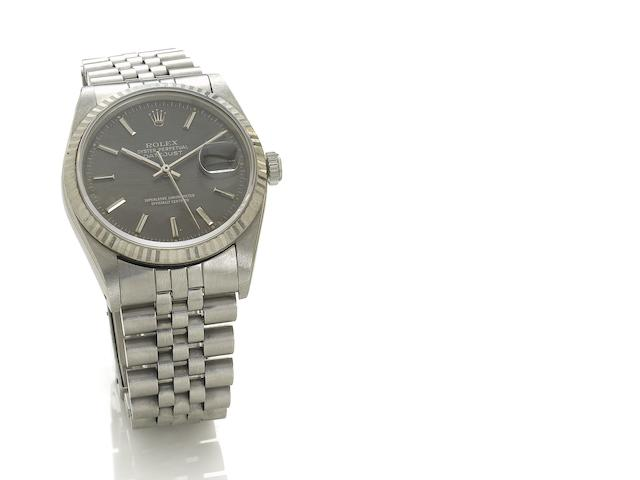 Rolex. A fine stainless steel automatic centre seconds bracelet watch  Datejust, Ref:16200, 1991