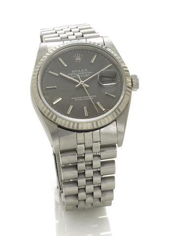 Rolex. A fine stainless steel automatic centre seconds bracelet watch  Datejust, Ref:16200, 1991