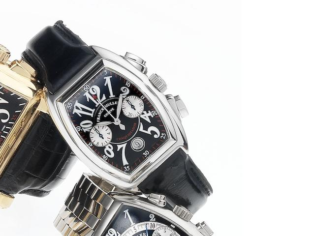 Franck Muller. A fine stainless steel automatic chronograph calendar wristwatch Conquistador, No.373, Ref.8002 CC, 1990's