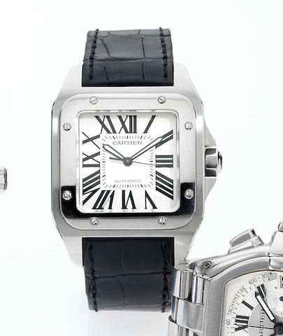 Cartier. A fine stainless steel automatic centre seconds over sized wristwatch Santos 100, Recent