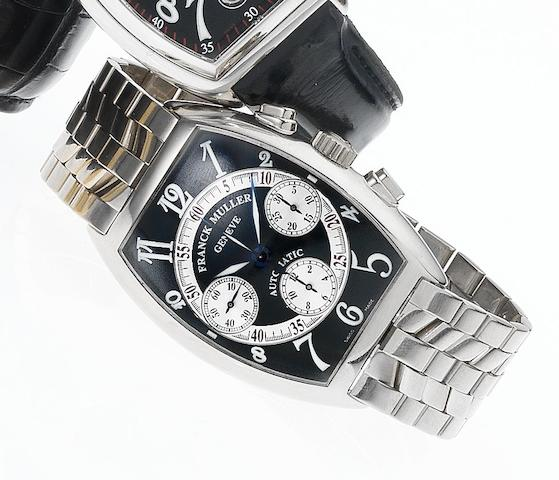 Franck Muller. A fine 18ct white gold automatic chronograph bracelet watch Cintree Curvex, Ref:7850 CC, No.74, Recent