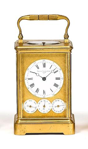 A good late 19th century French repeating carriage clock with full calendar and alarm Drocourt, number 13776.  Retailed by Shreve, Crump and Low, Boston.