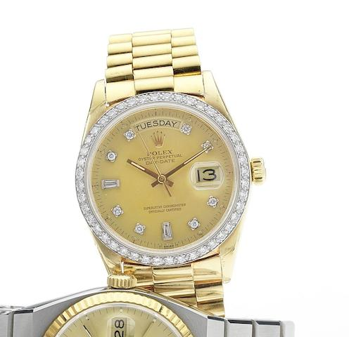 Rolex. An 18ct gold diamond set automatic centre seconds calendar bracelet watchDay-Date, 1979