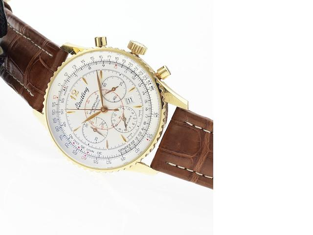 Breitling. A fine 18ct gold automatic chronograph calendar wristwatch together with fitted box and papers Navitimer Montbrillant, Ref:H41330, No.324, Sold January 22nd 2003