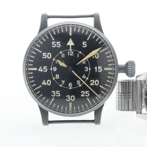 Laco-Durowe. A large anodised steel finish German Military observation wristwatchMovement No.DO4039, 1940's