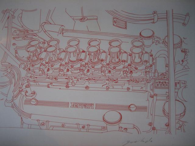 Ferrari 250 GTO engine, limited edition print after Hideki Yoshida,