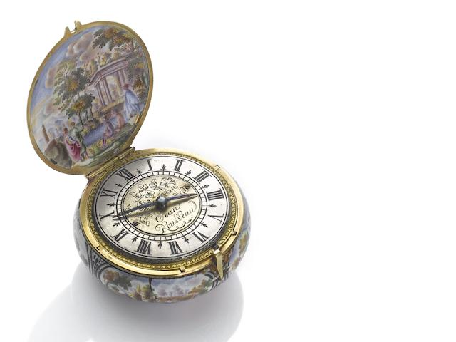 Jean Rousseau. A very fine and rare gold and enamel case pre-balance spring verge watch with later chatelaine and box Circa 1660