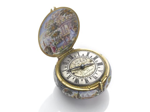 Jean Rousseau. A fine and rare gold and enamel case pre-balance spring verge watch with later chatelaine and boxCirca 1660