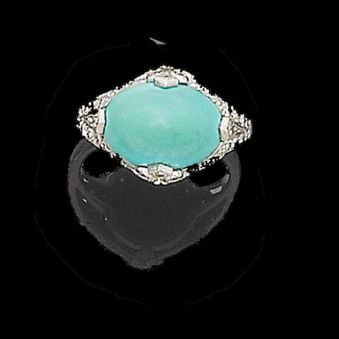 An art deco turquoise and diamond ring
