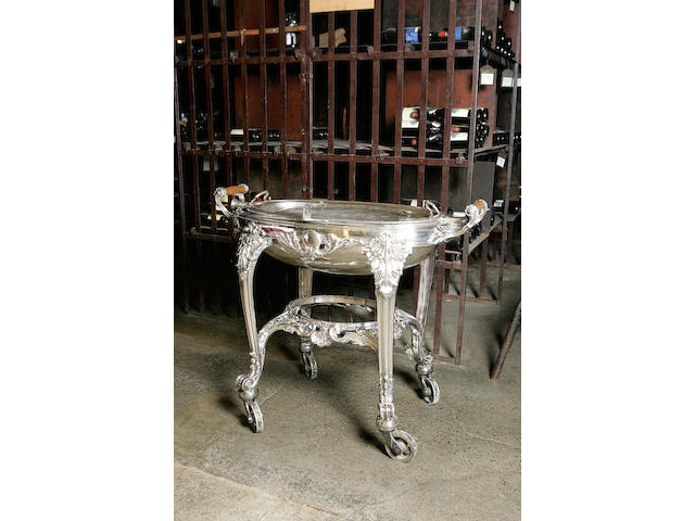 A late 19th century electroplated twin handled grill serving trolley