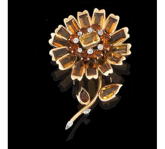 A topaz, citrine and diamond flower brooch, by Cartier,