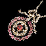 An early 20th century seed pearl and pink tourmaline pendant,