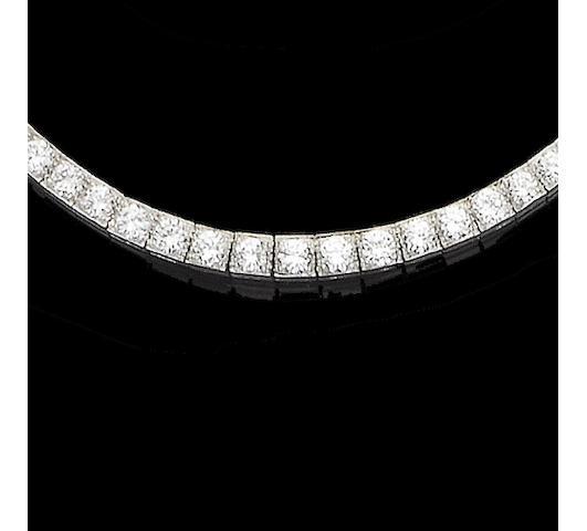 A diamond line necklace,