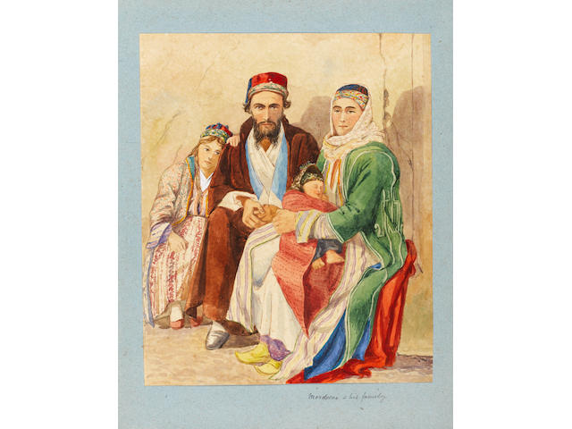 RHODES Album containing watercolour drawings depicting views and costumes, mostly of Rhodes