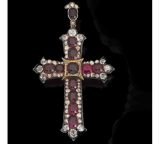 A mid 19th century ruby and diamond cross pendant,