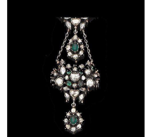 An antique emerald and diamond necklace,