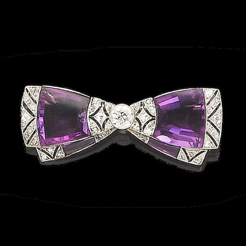 A early 20th century diamond and amethyst brooch,