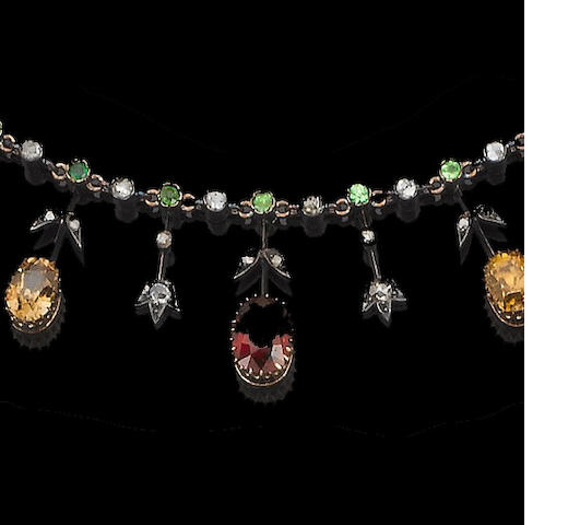 A late 19th century garnet, zircon and diamond necklace,