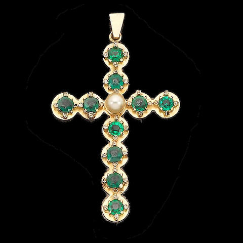 A mid 19th century emerald and diamond pendant