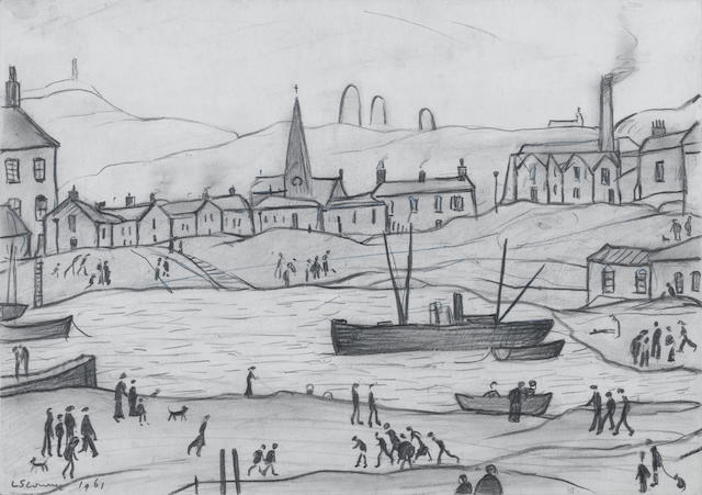 Laurence Stephen Lowry R.A. (British, 1887-1976) Industrial scene with fishing boats