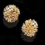 A pair of gold and diamond earrings, by Kutchinsky,