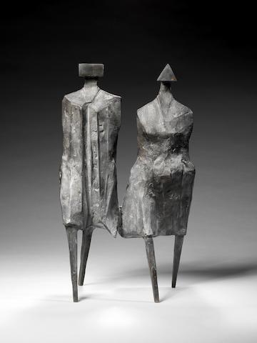 Lynn Chadwick CBE (British, 1914-2003) Walking Couple III 1987 42 cm. (16 1/2 in.) high
