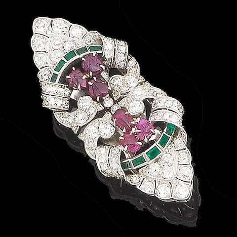 An art deco diamond, emerald and ruby double-clip brooch,