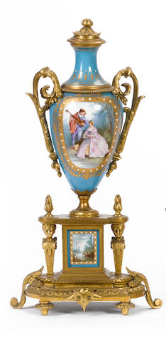 A pair of late 19th century French ormolu and porcelain garniture vases