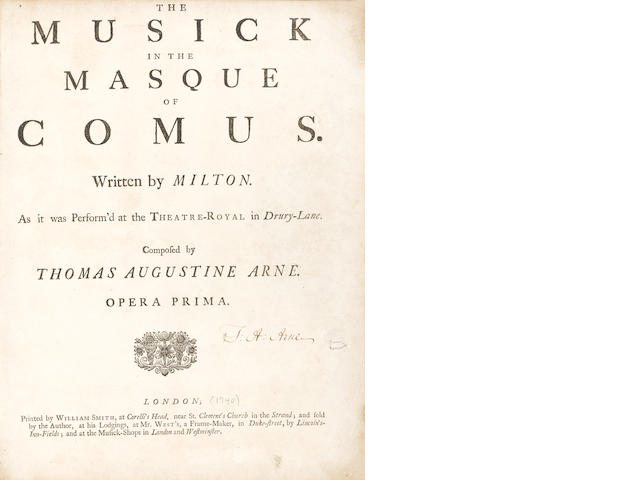 ARNE (THOMAS) The Musick in the Masque of Comus. Written by Milton. As it was Perform'd at the Theat