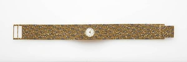 A lady's 18ct three colour gold wristwatch, by Bueche Girod, 1960s