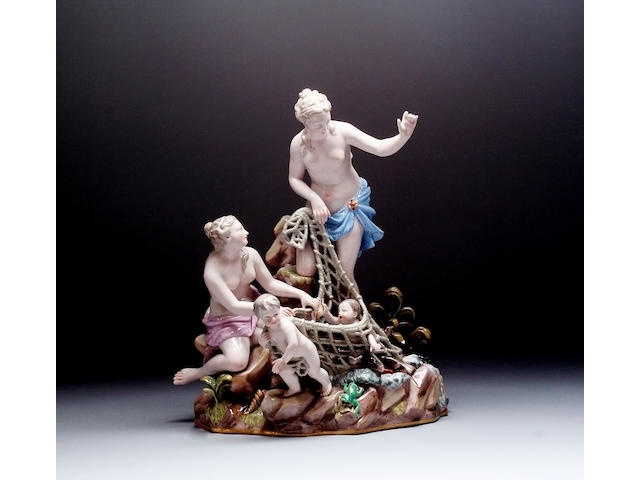 A large Meissen group titled The Capture of the Tritons