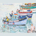 Linda Weir (British, born 1951) 'Preparing to leave, fishermen, St Ives'