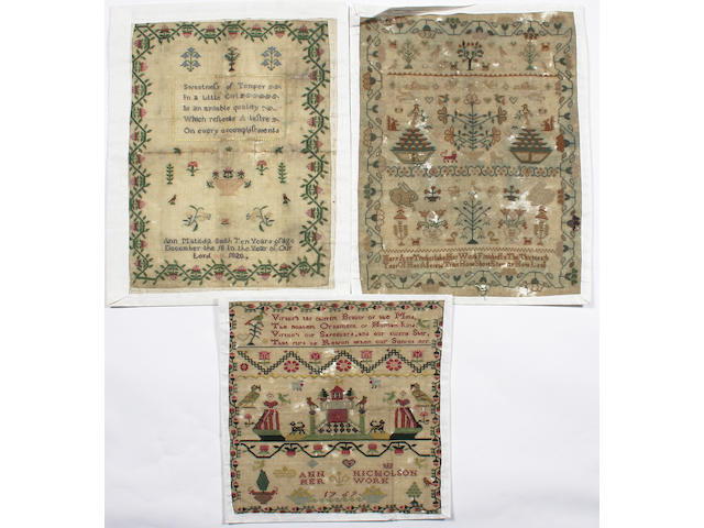 Three unframed samplers, late 18th and early 19th Century