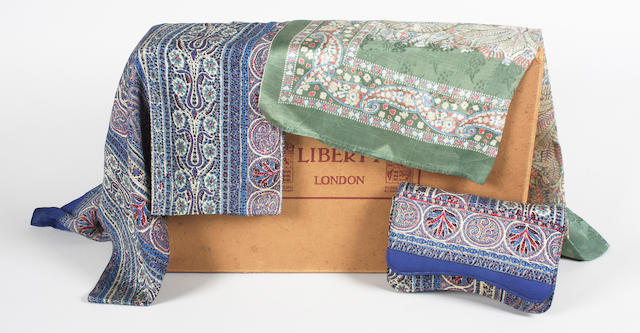A silk Liberty scarf and matching clutch bag