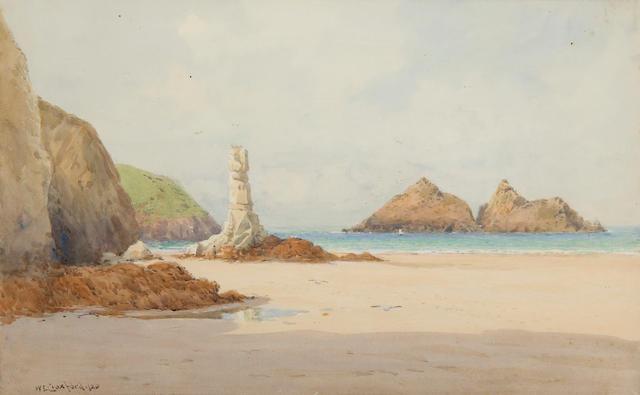 William Edward Croxford (British, active 1915-1940) Figures in a rocky coastal landscape