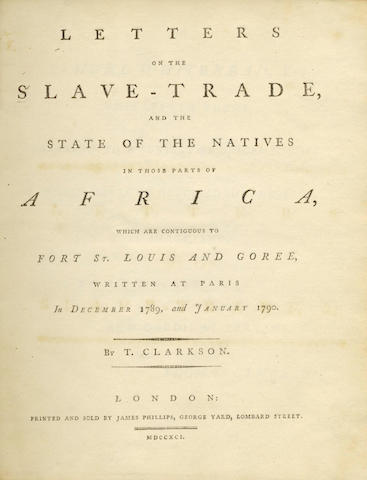 SLAVERY CLARKSON (THOMAS) Letters on the Slave-Trade, and the State of the Natives in those Parts of
