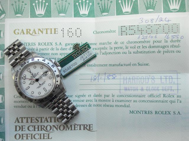 Rolex. A fine stainless steel automatic centre seconds twin time zone calendar bracelet watch together with fitted box and papers Explorer II, Ref:16550, Sold January 18th 1988
