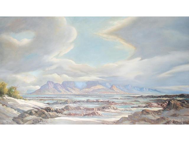 Gabriel Cornelis de Jongh (South African, 1913-2004) Table Mountain from Blouberg Strand