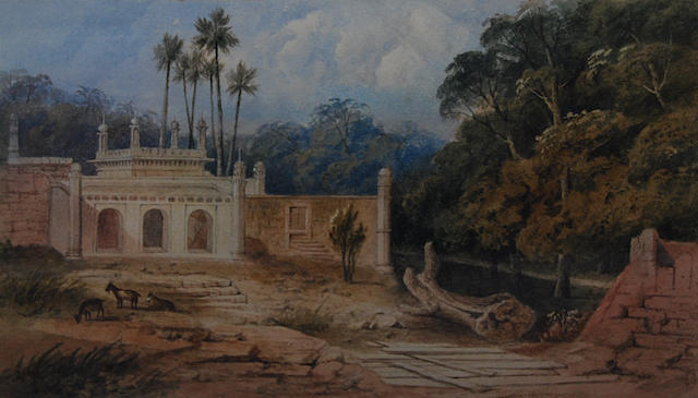 "Follower of William Daniell, R.A. (British, 1769-1837) ""Adurga or Muhumedan Burial Place at Hadjipou near Patna, East Indies, 1820"","