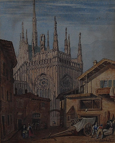 John Mogford (British, 1821-1885) A continental town scene with cathedral,