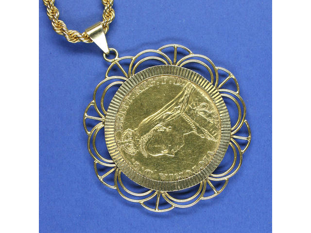 Victoria: Five pounds, 1887, in loose pendant mount, to ropetwist chain, clasp stamped '18ct',