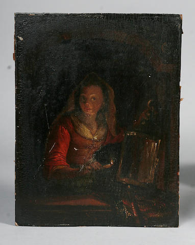 Follower of Godfried Schalcken (Dordrecht 1643-1706 The Hague) The Night Light 25 x 19cm.