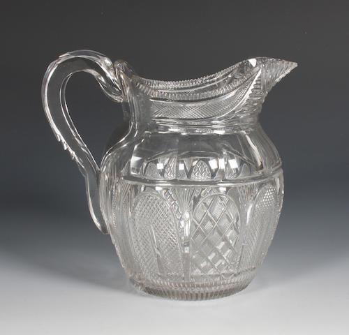 An Irish cut-glass water jug Circa 1810.