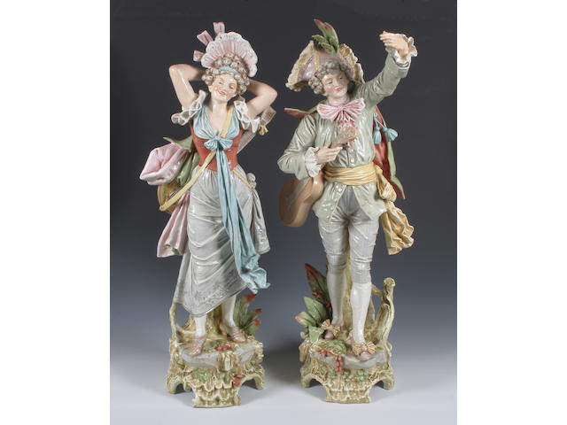 A pair of large Austrian porcelain figures 19th Century.