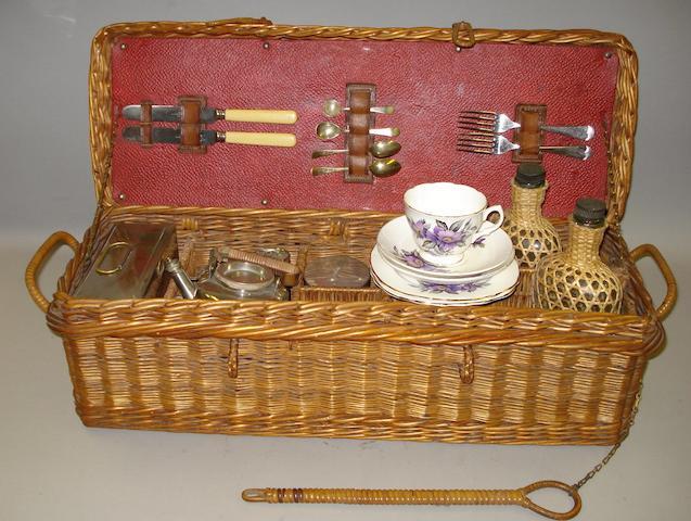 A two person wicker tea basket,