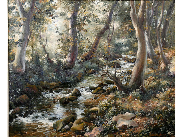 Denys Law (British, 1907-1981) A wooded stream 51cm x 61cm.