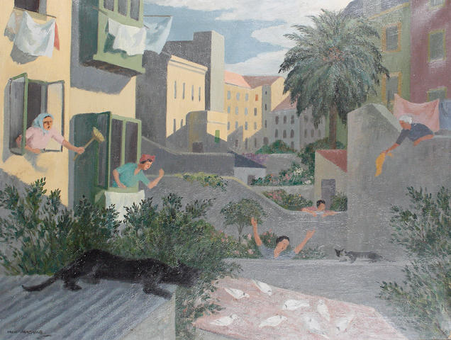 Iain MacNab (British, 1890-1967) Backyards with cats and pigeons