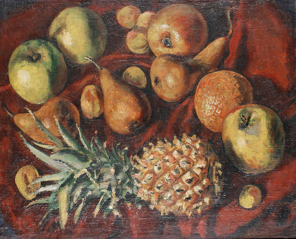 Ruskin Spear R.A. (British, 1911-1990) Still life with apples, pears and pineapple