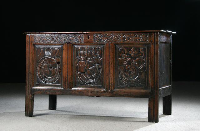 An unusual 18th century oak coffer